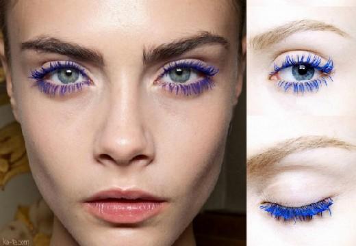 зеленые глаза с синими ресницами