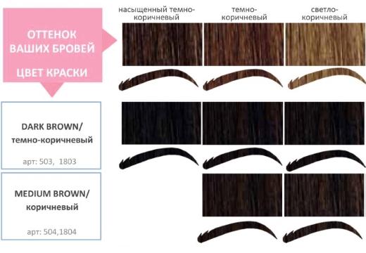 цвета для бровей коричневый