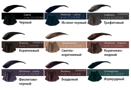 цвета краски для бровей